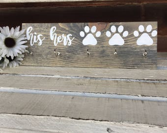 LEASH AND KEY Holder//His Hers Paw//Leash Hook//Key Hook//Rustic Wood Sign//Wood Wall Art//First Home Gift//Housewarming Gift//Wall Decor