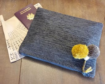 Slate Jacquard and cotton - tassel pouch wool