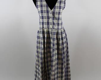 Vintage Plaid Empire Waist Sleeveless Maxi Dress sz 8