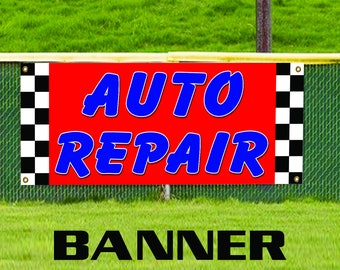 Auto Repair Vinyl Banner Sign Car Shop Mechanic Oil Change AC Service