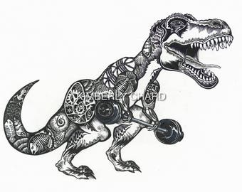 Dinosaur, T-Rex, Tyrannosaurus rex lifting weights. Giclee fine art Print