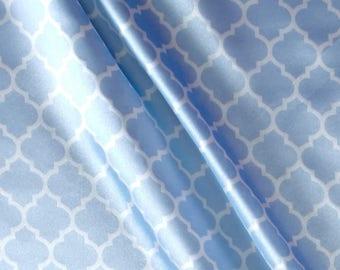 "Silky Satin Lattice Baby Blue/Snow, 56/58"", 100% Polyester, Satin,  Fabrics, Sewing, Quilting, Apparel"