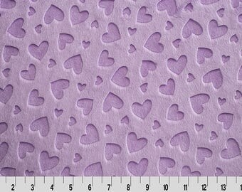 """Embossed Heart Cuddle® Lilac from Shannon Fabrics, Embossed Cuddle, Minky Fabrics, 100 % Polyester, 58/60"""""""
