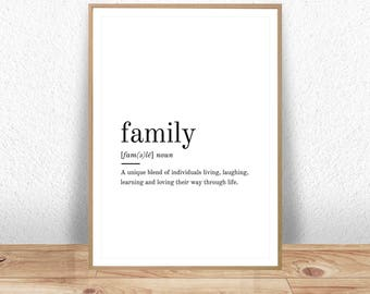 Family Definition, Printable Wall Art, Family Print, Family Poster, Funny Family Quote, Family Printable, Family Lover Gift, Family Wall Art