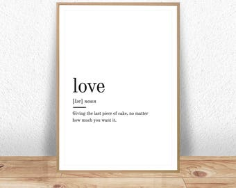 Love Print, Valentines Gift, Gift For Her, Love Definition, Love Printable Art, Wall Art Prints, Love Quote Print, Quote Print, Love Art