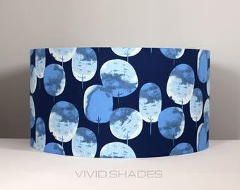 Scandinavian fabric lampshade handmade by vivid shades, modern retro scandi tree, stylish cool and funky 40cm custom made retro shade floral
