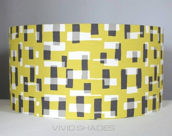 Funky lampshade, Retro Abstract fabric printed in England 40cm drum shade handmade by vivid shades, geometric shapes and lines, stylish cool