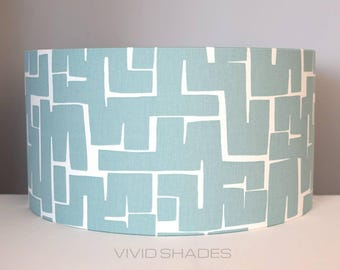 Geometric fabric lampshade handmade by vivid shades, modern abstract shapes stylish cool funky drum ceiling teal turquoise blue mid mod