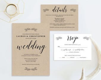 Rustic Wedding Invitation Printable Wedding Invitation Set Template Cheap Invitations DIY Invitations PDF Instant Download Invitation Suite