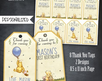 Winnie The Pooh Thank You Tags, Winnie The Pooh Favors, Winnie The Pooh Tags, Winnie The Pooh Birthday Party, Personalized, Printables