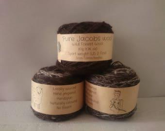 Hand spun wool - black white brown variagated British Jacobs wool -  sport weight wool - no bleach yarn - eco friendly -  variegated yarn