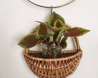 Vintage Wicker Woven Hanging Small Wall Basket