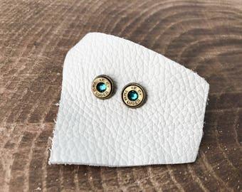 Blue Zircon and Brass Swarovski Bullet Stud Earrings