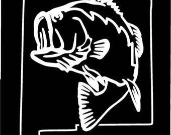 New Mexico Largemouth Bass Fishing state outline window sticker decal
