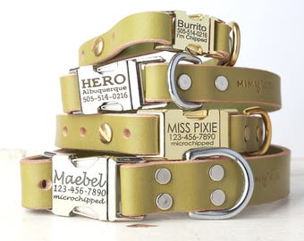 Personalized Engraved Buckle Green Leather Dog Collar -- Classic Side Release Style