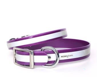 Purple Reflective Waterproof Dog Collar - Reflective Waterproof Purple Dog Collar - Smell Resistant Dog Collar - Smell Proof Dog Collar