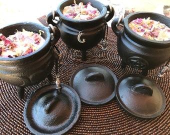 Cast Iron Cauldron Quantum Soy Candle w/ Lid,Triple Moon,Pentagram,Soy Candle with petals and Quartz Crystals
