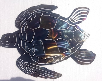 "Sea Turtle, Metal Art - HEAT COLORED, 20"" (51 cm)"