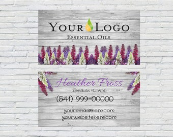 Essential Oil - Business Card - Flowers on Wood - Printable - Download - Customized- Digital File - Independent Distributor - Wellness Coach