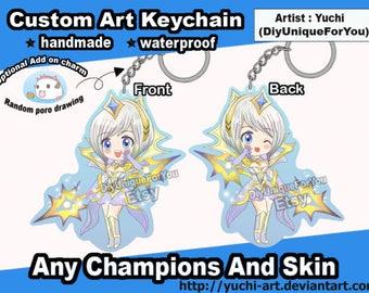 League of Legends Waterproof Handmade Keychain Charm Lux , Ahri , teemo or any champion