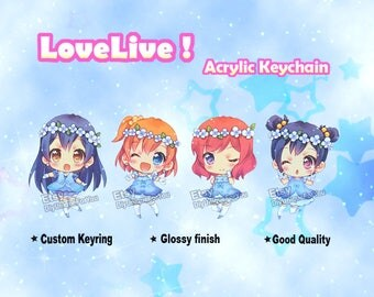 Love Live !  Clear Acrylic Charm Double-sided Keychain  Umi / Maki / Nico / Honoka *New listing*