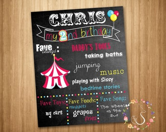 Big Top Birthday Chalkboard Poster - Boy Birthday Board - 2nd Birthday Sign - Tent and Balloons - Circus - *DIGITAL FILE ONLY*