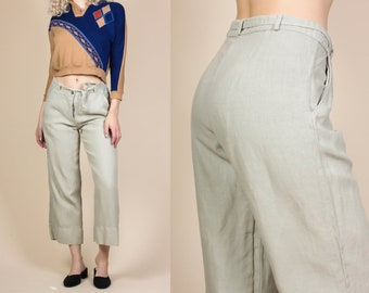 90s Belted Linen Pants - Small // Vintage Minimalist Straight Leg Cropped Trousers