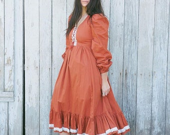 70s Burnt Orange Folk Prairie Dress, Boho Ruffle Dress