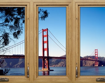 Golden Gate Bridge Through Window Frame, WALL DECAL, Fine Art Giclee Print, Movable and Reusable Wall Art, San Francisco Wall Art