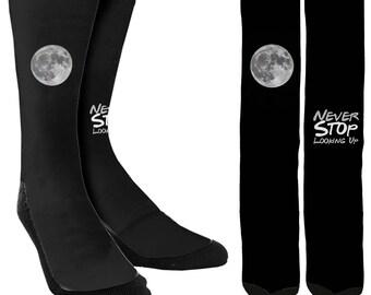 Never Stop Looking Up Crew Socks - Cute Socks - Crazy Socks - Womens Novelty Socks - Mens Novelty Socks - Cool Socks - FREE Shipping B16