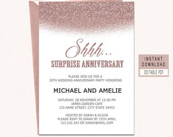 Anniversary invites etsy surprise anniversary party invitations surprise anniversary invitations anniversary invitations template rose gold modern stopboris Images