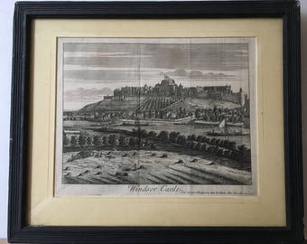 An 18th century copper engraving of Windsor Castle