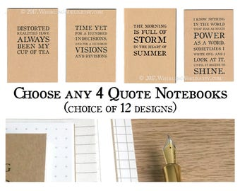 4 x A6 Kraft Notebook Set, choice of 12 quotes   Bookish Gift for Writer, Literary Gift for Reader, Gift Set for Librarian   Pocket Journals
