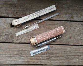 Set 2 Soviet glass syringe,Soviet Vintage medical ,SSSR hypodermic injector,Vintage laboratory glass,Glass vaccine,Glass syringe 1 ml. 2ml.
