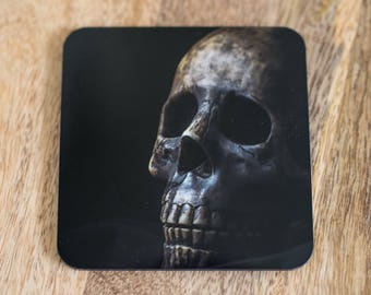 Set of Two (2) Skull Coasters - Glossy with Cork Back, Macabre Gothic Decor, Black, Pair of Square Coasters, Creepy, Dark, Spooky