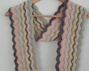 Skinny scarf, ripple stripes, ice-cream sundae, pastel colours, handmade, crochet, cotton blend