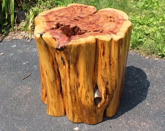 Beautiful and Very Large Red Cedar End Table, Stool Etc. Rustic Cabin Decor