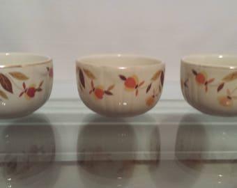 Hall's Autumn Leaf Custard Bowls Set of 3