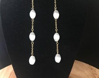 Long Pearl drop dangle earrings