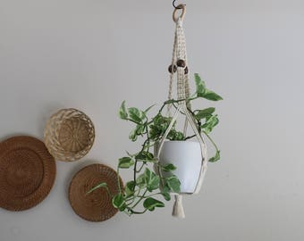 CHARITY DONATION Classic Macramé Plant Hanger with Wooden Beads