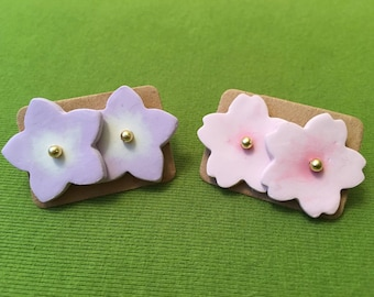Japanese sakura flower earrings