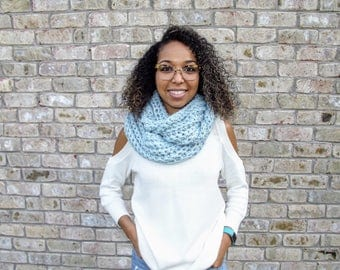 READY TO SHIP: Infinity Scarf// mystical infinity scarf// crochet scarf// chunky scarf// chunky blue scarf