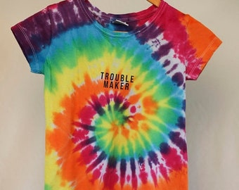 25% OFF ENTIRE SHOP Size 10  - Trouble Maker - Ready To Ship - Girls - Children - Kids - Iced Tie Dyed T-shirt - 100 Percent Cotton - Free S