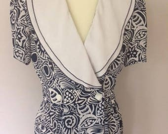 1980s Leslie Fay Shell Print Dress