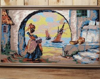 Vintage Tapestry Needlepoint Hand Woven Framed Wall Hanging Wood Frame Art Mediterranean Landscape Scene Spanish Sea Sailboats