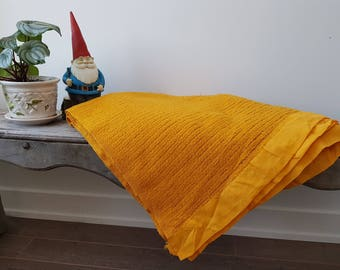 "Vintage Mid Century 70s Throw / 72"" x 82"" / Couch Living Room Cabin Rustic Home Decor /   Blanket Bedding Bed Coverlet Orange"