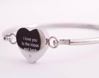 Engraved Heart Bangle, Bracelet