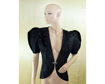 Vintage Lizzy & Johnny women blazer black Made in USA sequins lacework velvet
