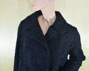 Vintage Persian Lamb black fur coat women Astragan astrakhan
