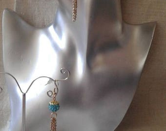 "Earrings ""Blue Pearl and its chain"""